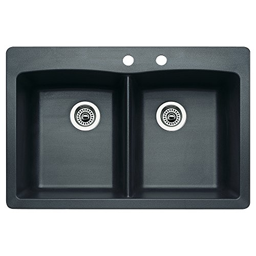 Diamond Silgranit Anthracite Double Bowl (Blanco 440220-2 Diamond 2-Hole Double-Basin Drop-In or Undermount Granite Kitchen Sink,)