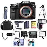 Sony a99 II Full Frame Translucent Mirror DSLR Camera, - Bundle With 64GB SDHC Card, Camera Case, Spare Battery, Tripod, Flashpoint Zoom Flash, Shotgun Mic, Video Light, Software Package, And More