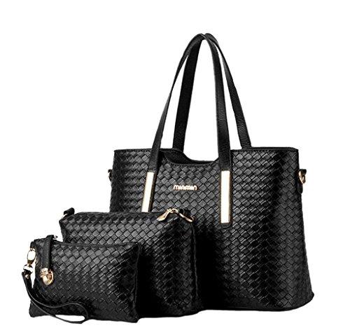 Women 3pcs Tote Bag PU Leather Handbag Purse Bags Set - 8