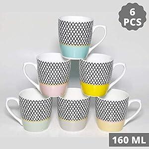 Femora Indian Ceramic Fine Bone China Handmade Multicolor Design Tea Cup Coffee Cup – 6 Pcs,160 ML – Small Serving