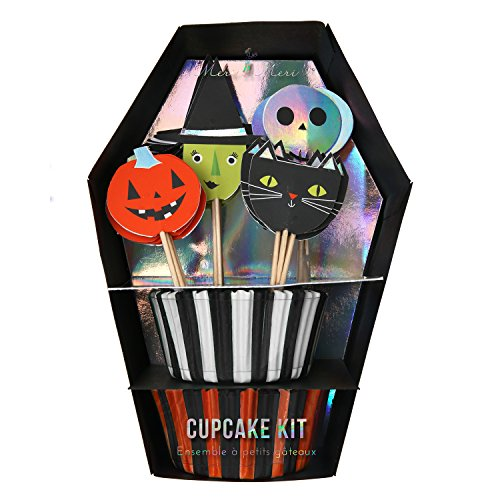 Meri Meri Halloween Cupcake Kit 45-2340, Set includes 24 Cupcake Cases and 24 Toppers
