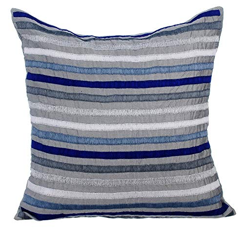 Decorative Pillow Covers 16 x 16 inch Blue, Silk Throw Pillow Covers, Handmade Pillow Covers, Striped Pillow Covers, Contemporary Pillow Covers - Blue Movements ()