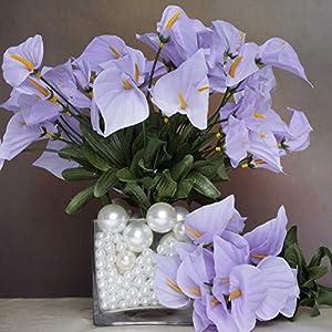 Mikash 252 Mini Silk Calla Lilies Flowers - Wedding Bouquets Centerpieces Decorations   Model WDDNGDCRTN - 9619   101