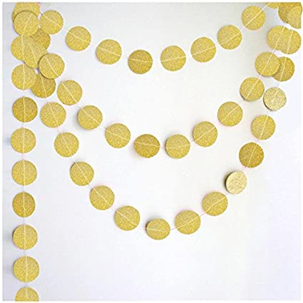 Buy my party suppliers circle dots glitter paper garland hanging for my party suppliers circle dots glitter paper garland hanging for wedding birthday party decoration gold circle junglespirit Image collections