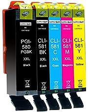 Supply Guy 5 XXL Inktpatronen met chip compatibel met Canon PGI-580 CLI-581 voor Pixma TR7500 TR7550 TR8550 TS6100 TS6150 TS6151 TS6250 TS6251 TS6350 TS6351 TS705 TS9540 TS9541c TS9550 TS9551c