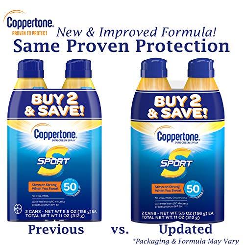Coppertone SPORT Continuous Sunscreen Spray SPF 50, Water Resistant, Broad Spectrum UVA/UVB Protection (5.5 oz per…