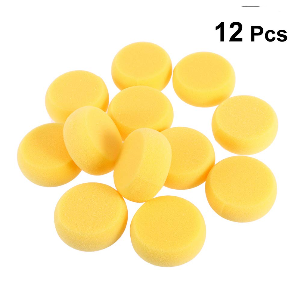 beyonday Painting Sponge Foam Yellow Round Watercolor Craft Pottery Tool Painting Sponge Suitable for Artist 12PCS