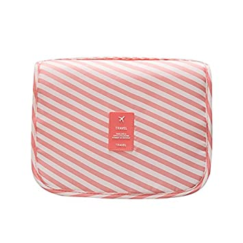 Amazon.com   Toiletry Bag Travel Toiletries Bag Sturdy Hanging Organizer  for Women Men (Pink stripes)   Beauty 2a0100fa325b8