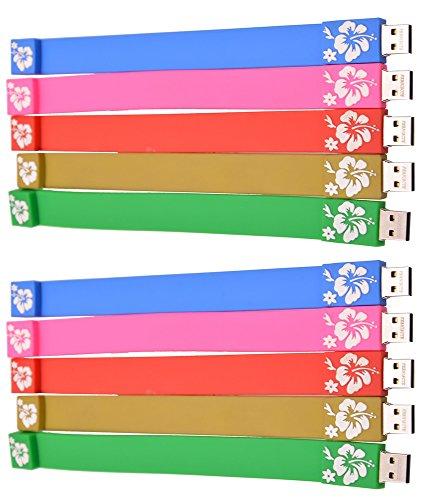 FEBNISCTE 1GB USB Flash Drive - Bulk Pack of 10 Wrist Bracelet Thumb Stick Multi-Coloured USB 2.0 Pen Drives