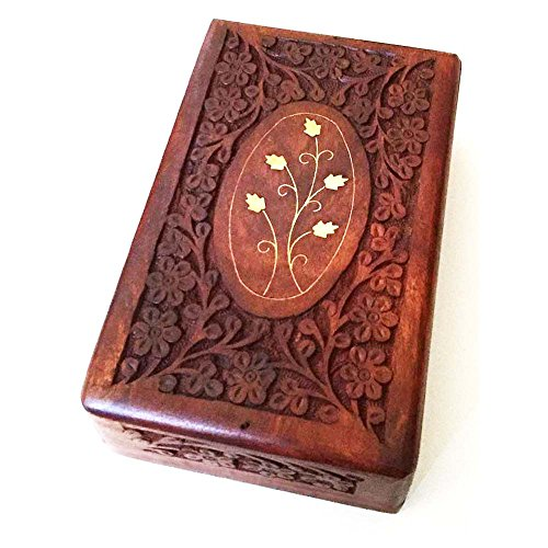 IndiaArts Wooden Box 6x10x2.6 inch, Hand Carved Flowers & Vines Design, Brass Inlay - Brown Carved Vines