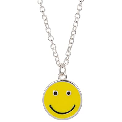Amazon happy smiley face emoji pendant necklace silver tone happy smiley face emoji pendant necklace silver tone yellow black aloadofball