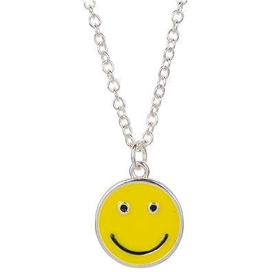 Face Pendant Amazon happy smiley face emoji pendant necklace silver tone happy smiley face emoji pendant necklace silver tone yellow black audiocablefo