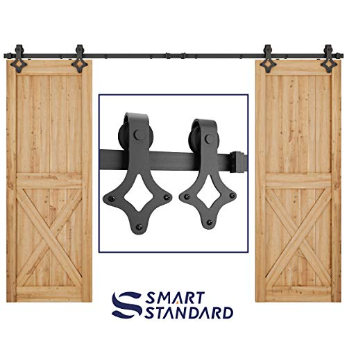 """10ft Heavy Duty Sturdy Double Door Sliding Barn Door Hardware Kit - Super Smoothly and Quietly - Simple and Easy to Install - Includes Step-by-Step Instruction -Fit 30"""" Wide Door Panel(Rhombic Shape)"""