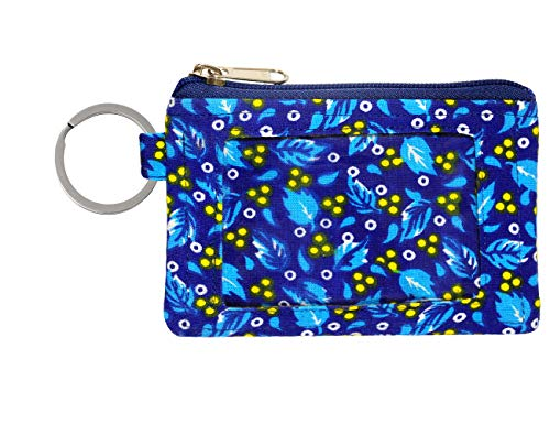 Zip ID Case/Key Wallet/Credit Card Case/Coins Purse with ID Window/Cute ID Holder/Badge Clips (Wild Blue)