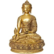CraftVatika 15 Inches Large Brass Buddha Statue Medicine Pose Golden finished Sculpture Buddhist Feng Shui Home Decor