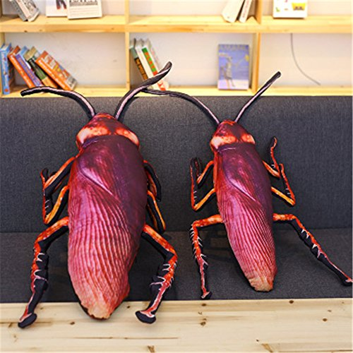 Ellelove Creative 3D Cockroach Plush Pillow Animal Insect Funny Home Sofa Car Decoration Party Favors Throw Pillow Gifts for Boys and Girls (13.8''(35cm)) -