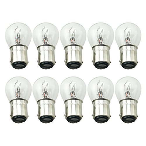 FEELDO 1157 BA15D P21/5W S25 12V Car Clear Glass Lamp Brake Tail Bulb Car Indicator Halogen Lamp Pack of 10