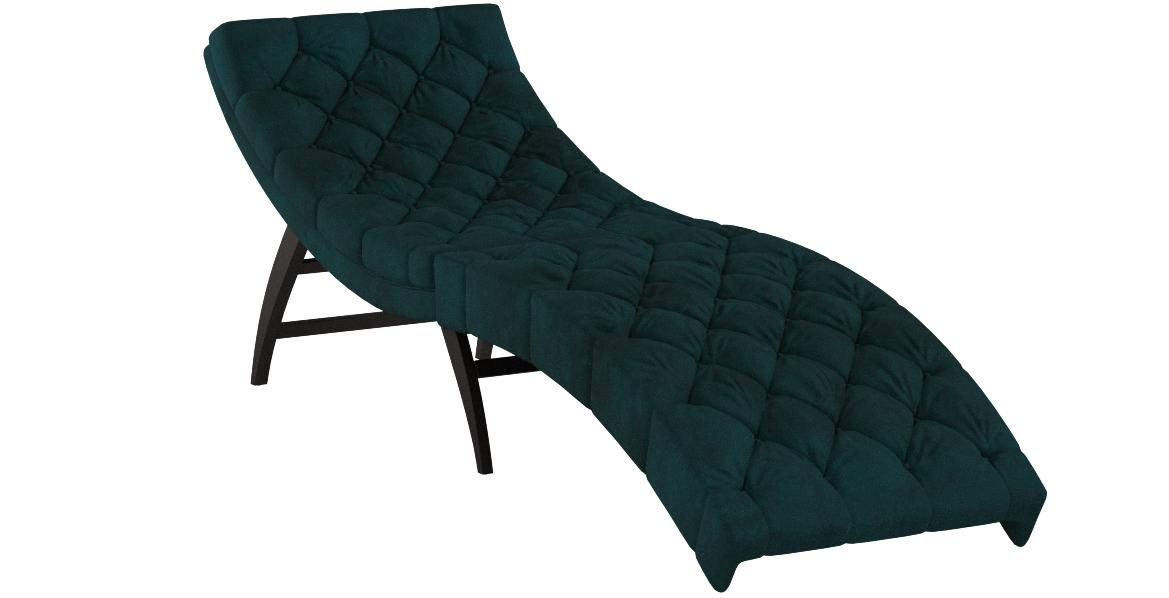 Christopher Knight Home 302566 Grasby Tufted Teal Velvet Chaise Lounge, Dark Brown by Christopher Knight Home
