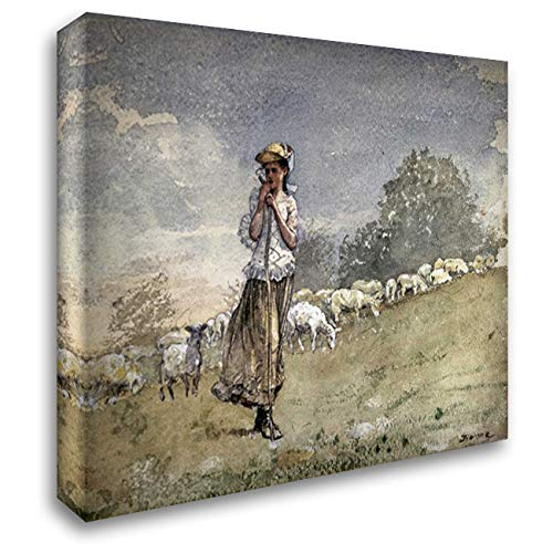 Tending Sheep, Houghton Farm 24x19 Gallery Wrapped Stretched Canvas Art by Homer, Winslow