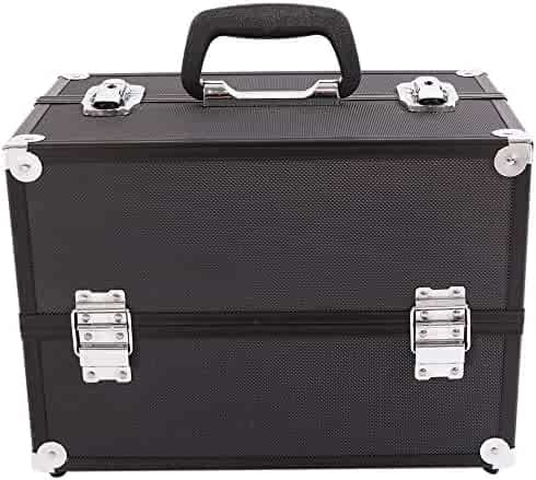 6d7130a2ceeb6 Tenozek Aluminum Alloy Makeup Train Case Jewelry Box Organizer Black