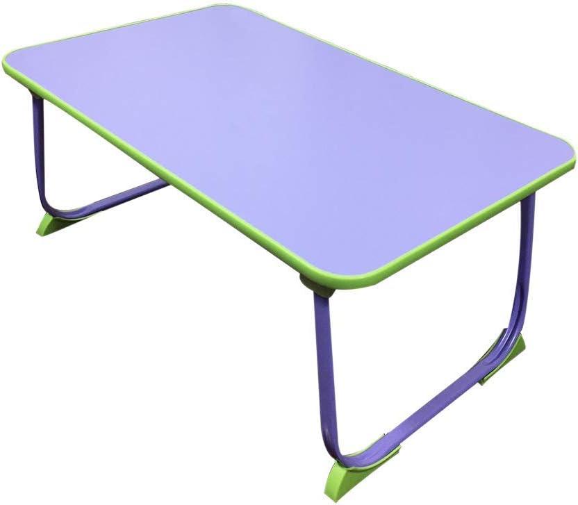 AGWa Table pliante, pliante dans les deux sens, pieds de table en métal en acier inoxydable, mini avec pieds antidérapants, bureau d'ordinateur, 20 kg,Violet Violet