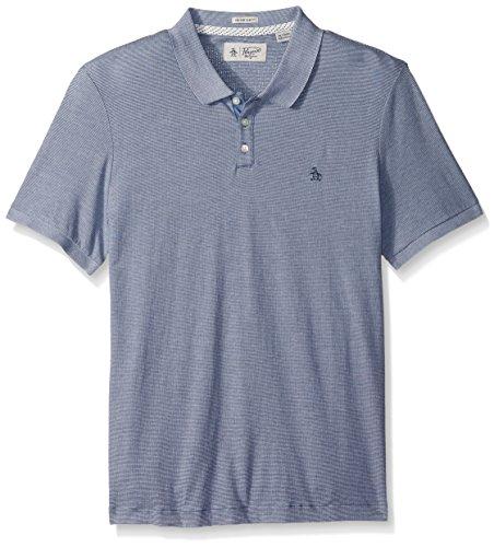 Original Penguin Men's Short Sleeve Jacquard Feeder Polo Shirt, Vintage Indigo, Large