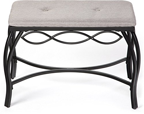 (Mango Steam Bristol Shoe Bench - Heather Grey - Texture Woven Fabric Top and Durable Steel Legs)