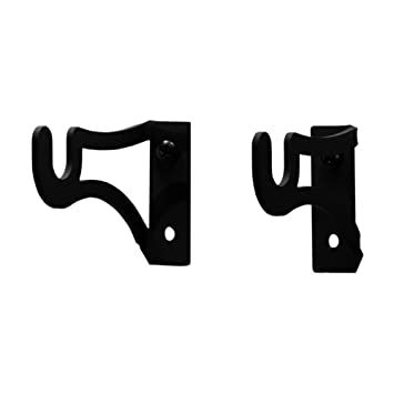 Amazon.com: Iron Curtain Rod Brackets -Set of 2-Black Metal: Home ...