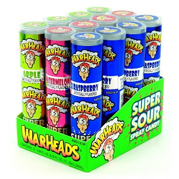 Warheads Super Sour Spray , 12 Count (SUGAR CANDY - NOVELTIES/KIDS)