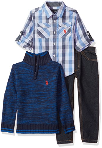 U.S. Polo Assn. Little Boys' Sport Shirt, Sweater and Pant Set, Multi Plaid, - Us Clothing Sports