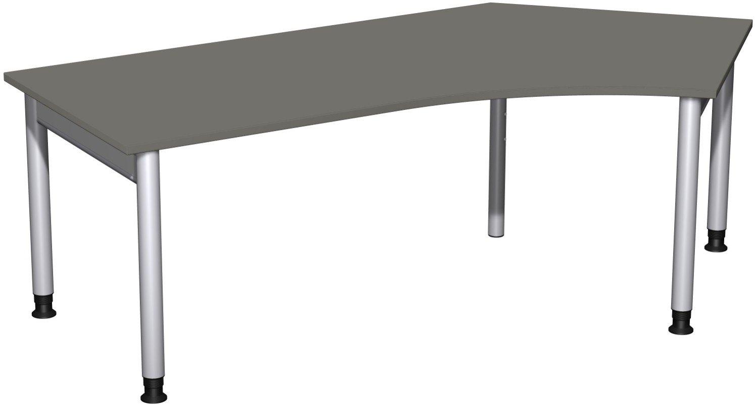 Geramöbel Schreibtisch 135° rechts höhenverstellbar, 2166x1130x680-820, Graphit/Silber