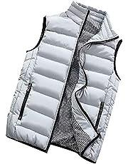 Wintervest voor heren, met opstaande kraag, steekzakken, outdoor, sport, gewatteerd gewatteerd gewatteerd vest, bodywarmer licht gewicht, buffer vest, warm, winddicht, mouwloos jack voor wandelingen
