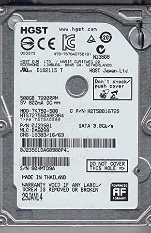 7K750-500 HTS727550A9E364 (0J23561) 500GB 7200RPM 16MB Cache SATA 3.0Gb/s 2.5