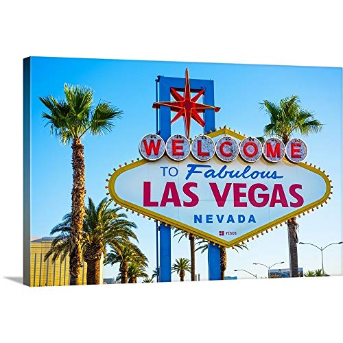 """GREATBIGCANVAS Gallery-Wrapped Canvas Entitled Welcome to Fabulous Las Vegas Nevada Sign by Circle Capture 60""""x40"""""""