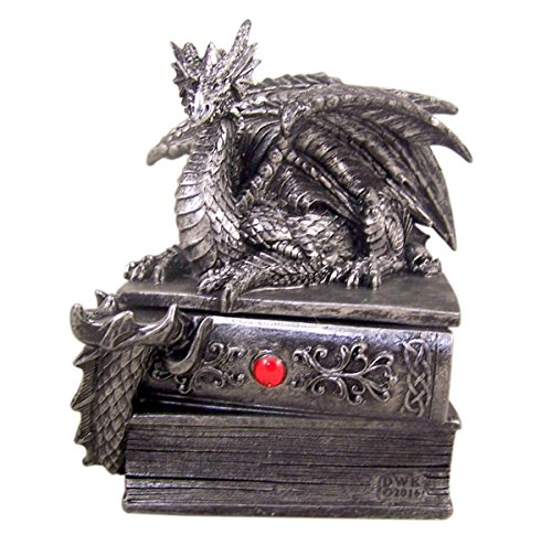 Mythical Guardian Dragon Gothic Book Keepsake Jewelry Box, 8 1/4 Inch