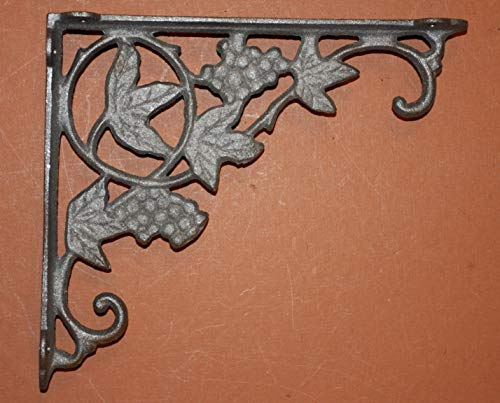 Southern Metal Set of 8 Grapevine Shelf Brackets, Cast Iron 9 inches, Fits 8 inch to 12 inch Shelf, Volume Priced, B-12