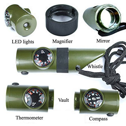 Torch and Glow Led Flashlight Stick with Whistle (Green) - 7