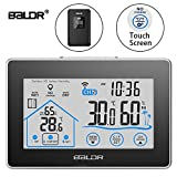 BALDR Digital Wireless Hygrometer - Touch Screen Thermometer Wireless Temperature Indoor Outdoor Temperature Hygrometer LED Backlight