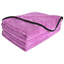 "Sinland Microfiber Car Cleaning Cloths Plush Thick Car Waxing Polishing Towels Car Wash Cloths(3 Pack)16 Inch X 24 Inch 380gsm (16""x24"", Purplex3)"