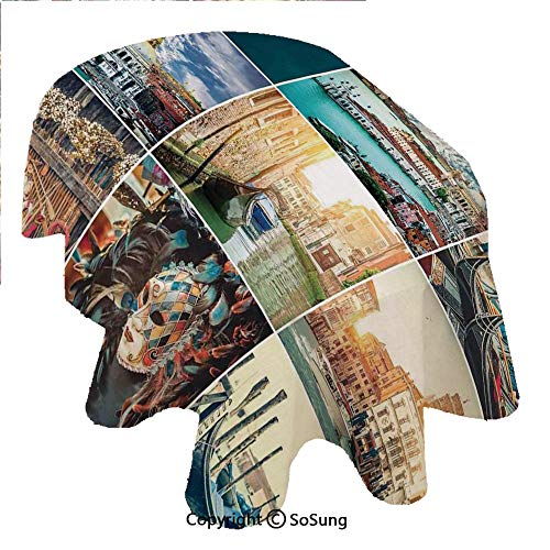 (SoSung Italian Oval Polyester Tablecloth,Designed Masks for Carnival of Venice Baroque Style Gondolas River Italy Landmark,Dining Room Kitchen Rectangular Table Cover, 60 x 84 inches,Multicolor)