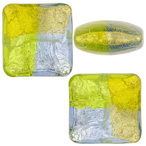 Glass Beads Square Silver Foil - 4
