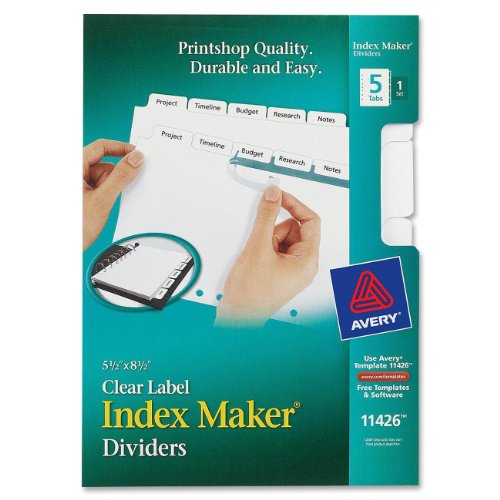 White Dividers 8.5 (Avery Mini Index Maker Clear Label Dividers with White Tabs, 5.5 x 8.5 Inches, 5 Tabs, 1 set  (11426))