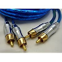Crankin Power Twisted Pair Dual Male RCA Blue Audio Patch Cable Cord, 17-Ft Shielded; AS-2176