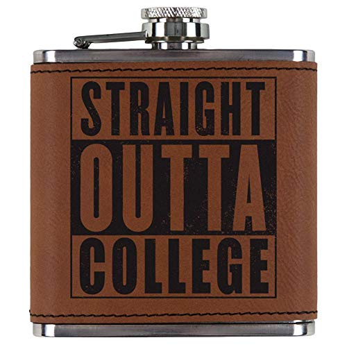 Old Glory Graduation Straight Outta College Etched Leatherette Flask Rawhide Standard One Size