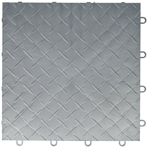 RaceDeck Diamond Plate Design, Durable Interlocking Modular Garage Flooring Tile (Single Tile), Alloy