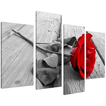 Red rose floral canvas wall art pictures black white grey split panel set xl