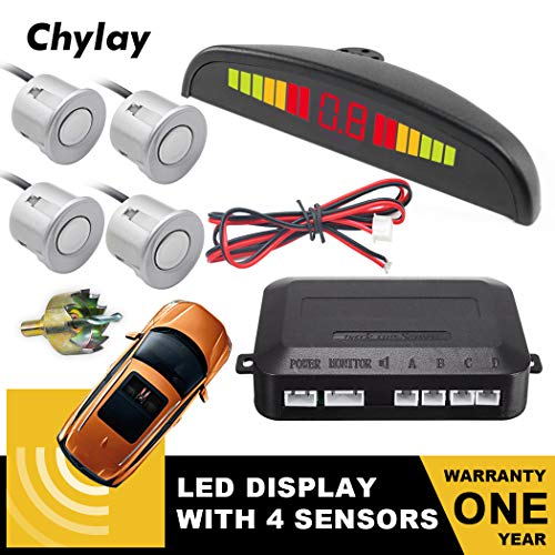 Chylay Car Reverse Radar System, LED Display Car Auto Vehicle Reverse Backup Radar System with 4 Parking Sensors Auto Safety Alarm/Buzzer Reminder (Silver) ()
