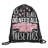 vhjg1og8fy 3D Print Drawstring Backpack Rucksack Shoulder Bags Gym Bag Lightweight Travel Backpack Yes I Really Do Need All These Pigs