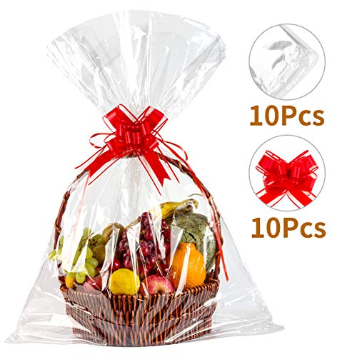 "Geniusus 30""x40""Clear Basket Bags Clear Cellophane Wrap for Baskets and Gifts with Gift Basket Pull Bows (10pcsCellophane Gift Bags +10pcs Gift Basket Pull Bows)"