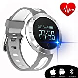 kingkok Blood Pressure Heart Rate Monitor Step Counter Watch Sleep Monitor Message Reminder Smart Fitness Trackers Waterproof [White]